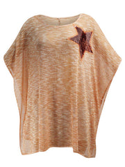 Sheer Oversize Top With Sequin Star