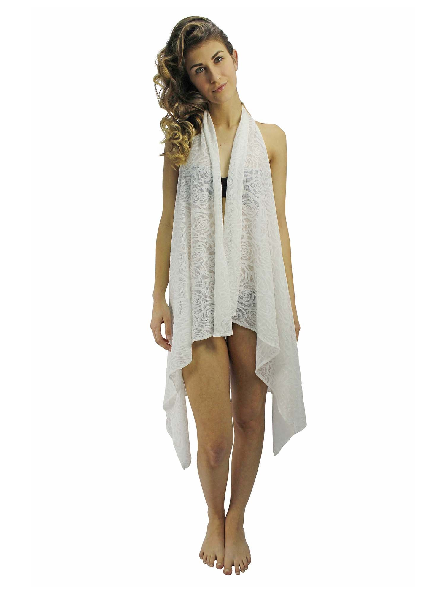 Rose Lace Backless Beach Cover Up Vest