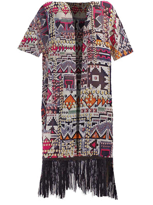 Colorful Geometric Aztec Print Kimono Cover-Up With Fringe