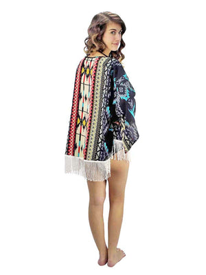 Tribal Print Lightweight Kimono Cover-Up With Fringe