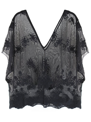 Sheer Black V-Neck Lacey Lightweight Beach Cover-Up