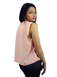 Simple Sleeveless Crepe Chiffon Blouse