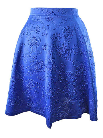 Floral Embossed Flared Skater Skirt