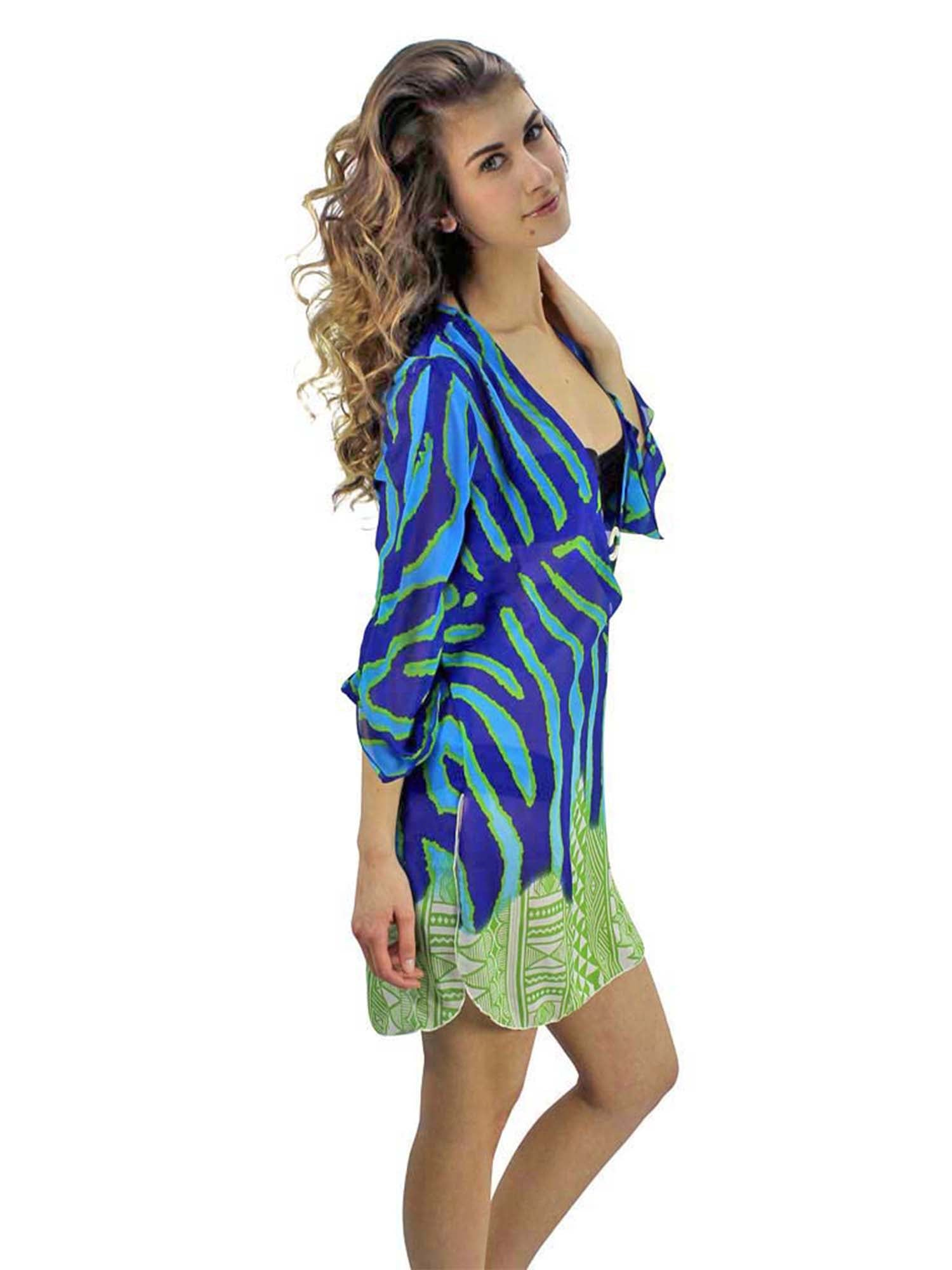 Blue & Green Animal Stripe Aztec Print Cover-Up