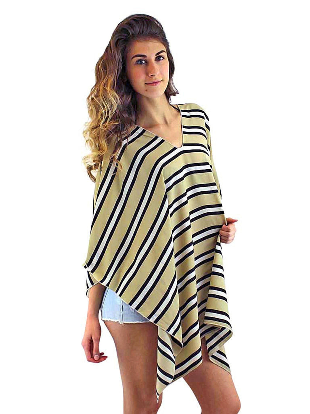 Beige Black & White Striped Lightweight Poncho Top
