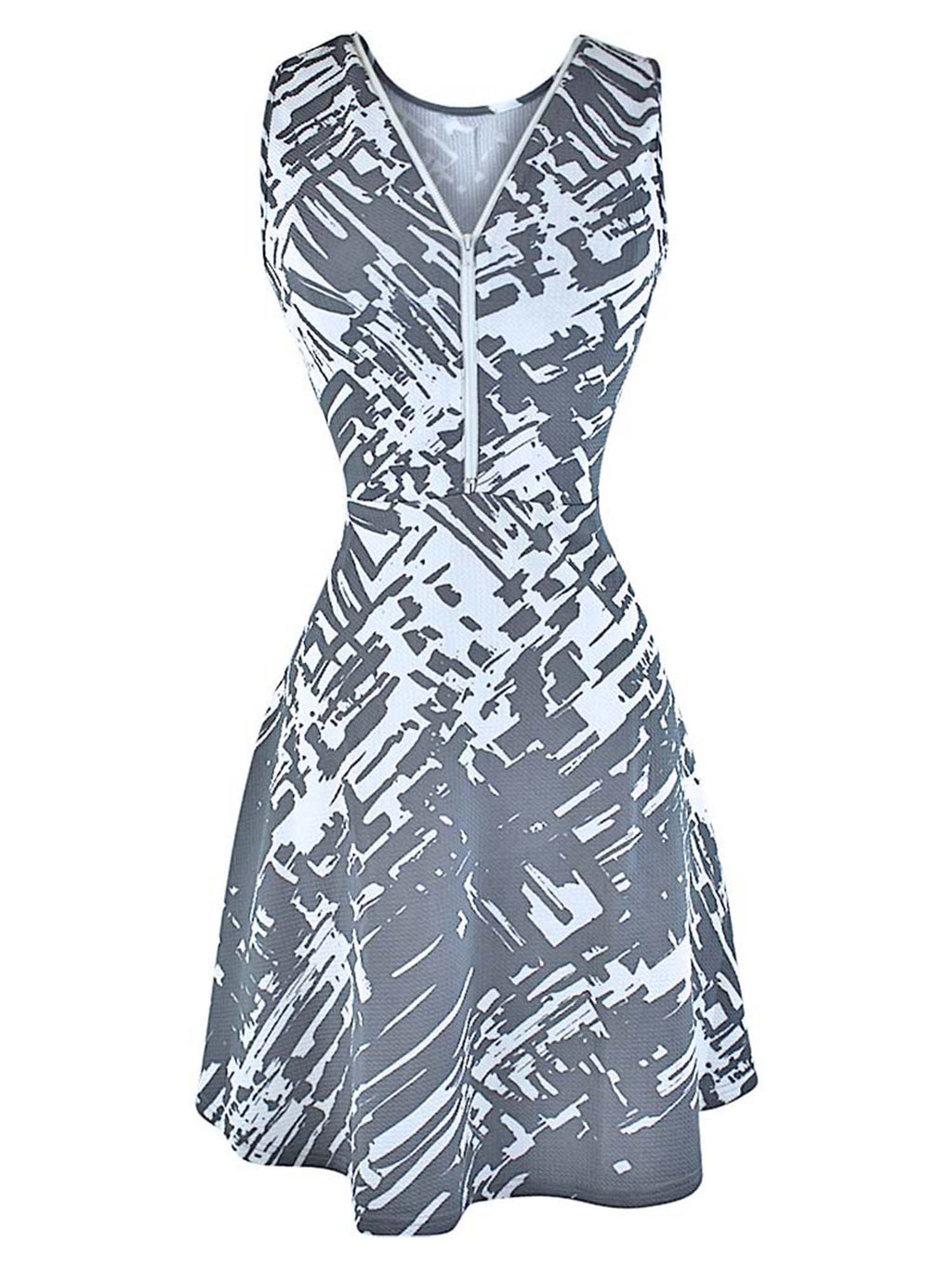 Abstract Print Sleeveless Dress