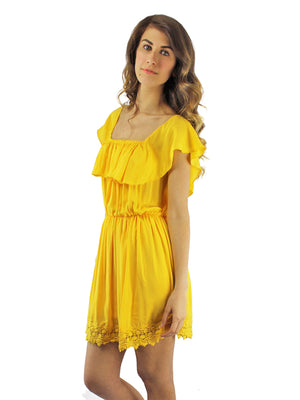 Yellow Strapless Off The Shoulder Dress With Lace Trim