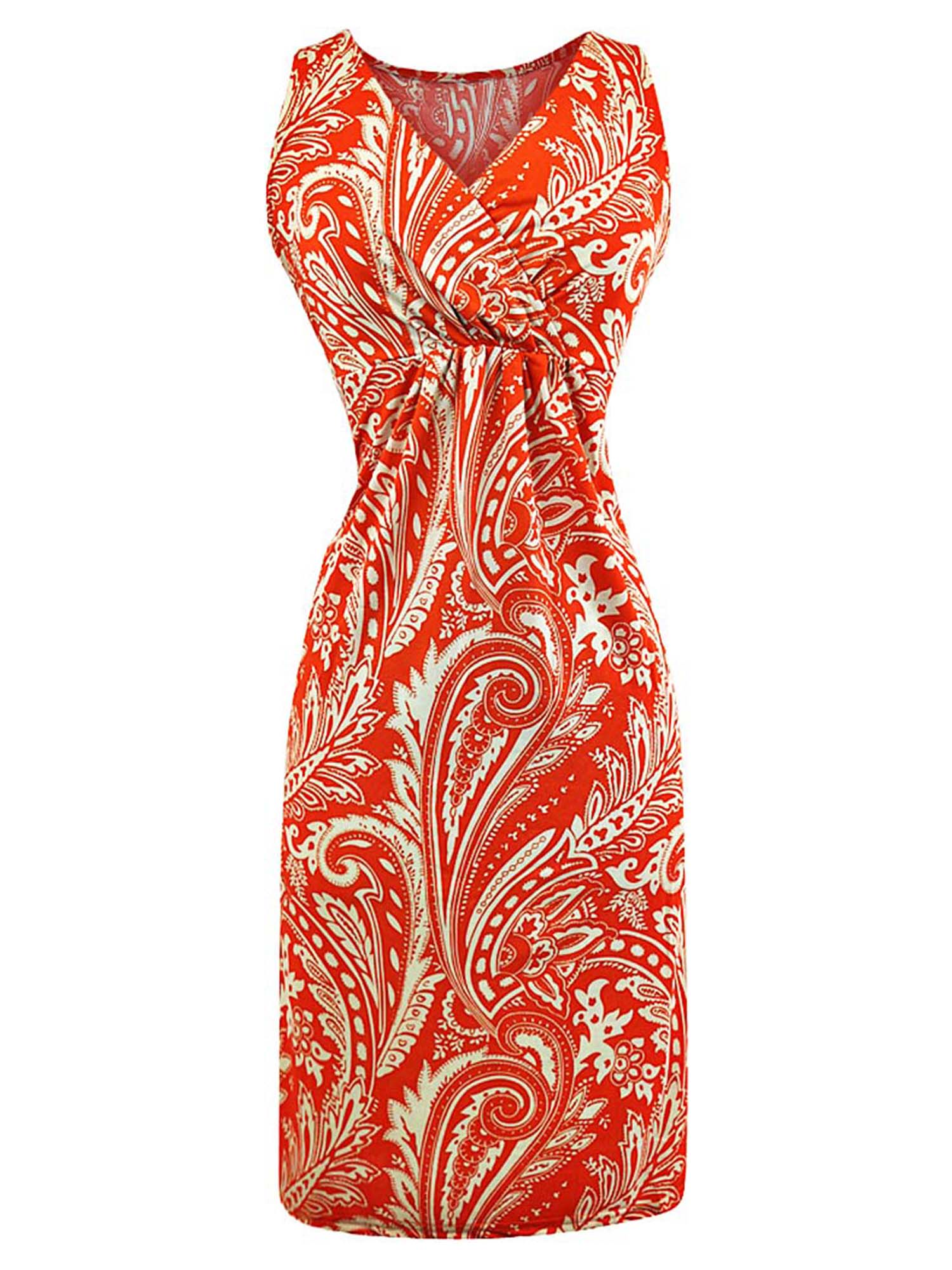 Sleeveless Paisley Print Bohemian Sundress