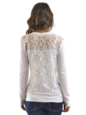 V-Neck Button Down Sweater With Sheer Lace Back