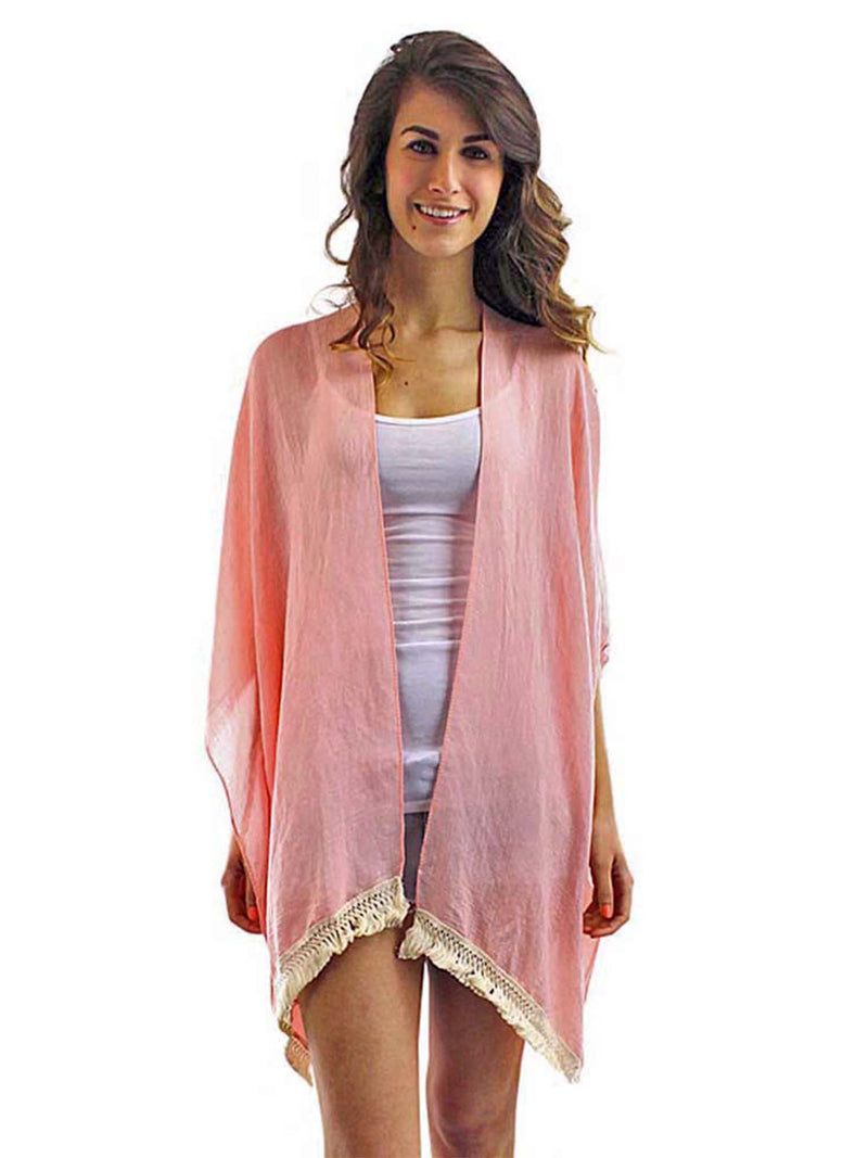Pink Lightweight Sheer Kimono With Crochet Trim