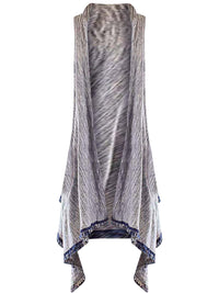 Navy Blue & Gray Heathered Lightweight Long Sleeveless Vest
