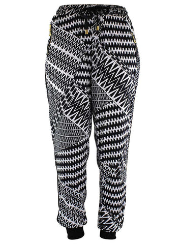 Black & White Geo Chevron Print Jogger Pants