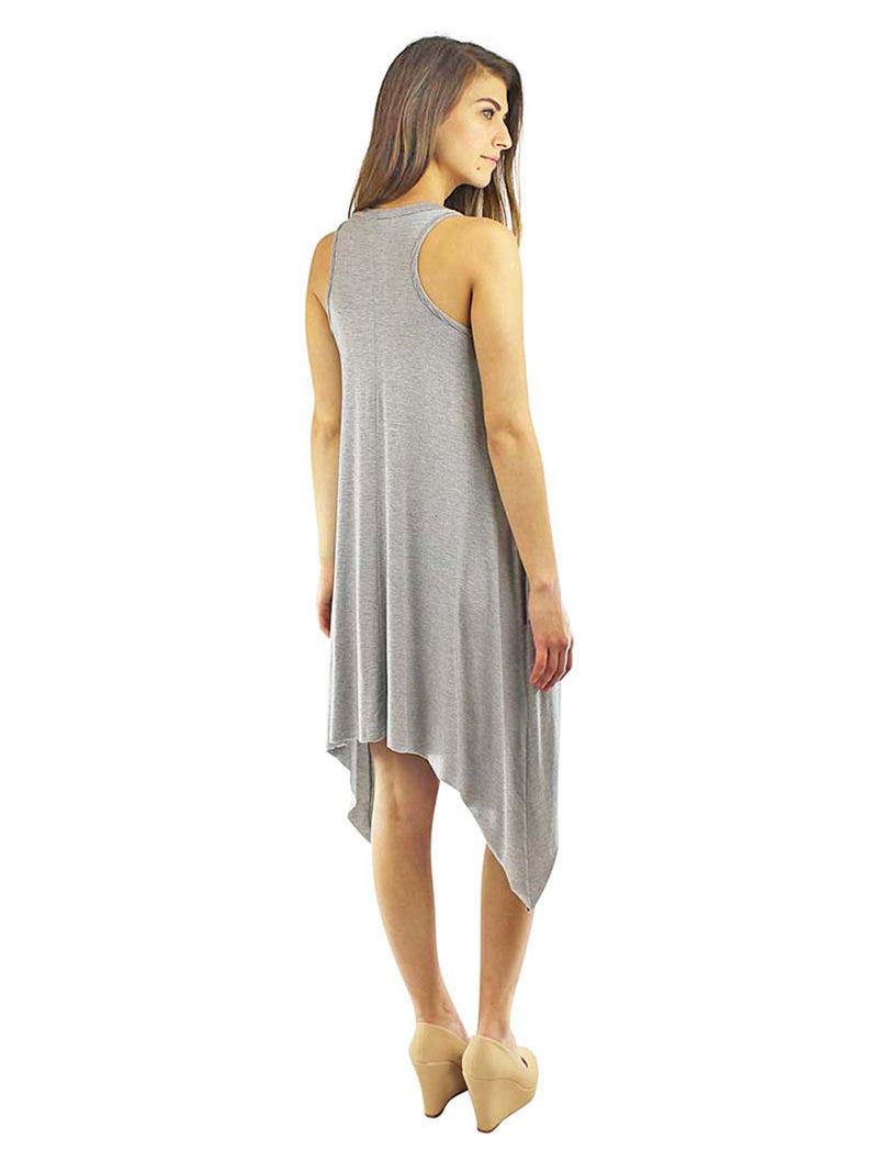 Pinstriped Knit Handkerchief Summer Dress with Pockets