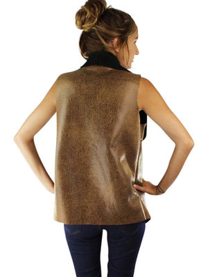 Vegan Leather Fur Lined Vest With Collar