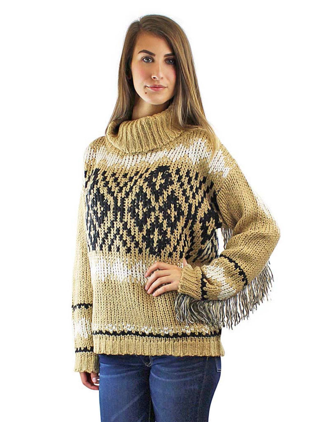 Tan Knit Turtleneck Sweater With Fringed Sleeves