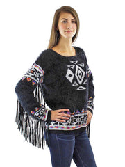 Black & White Fuzzy Knit Sweater With Fringed Sleeves