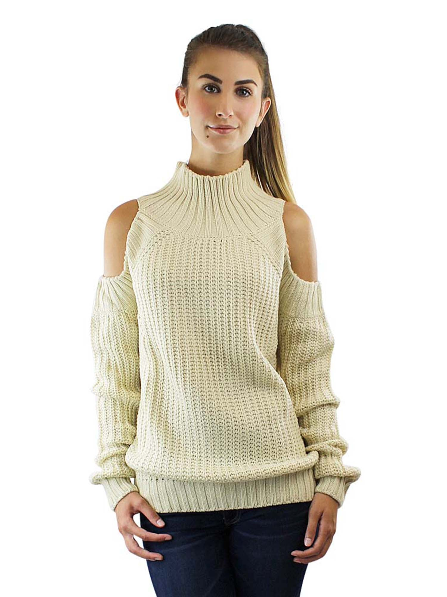 Beige Long Sleeve Cold Shoulder Pullover Sweater