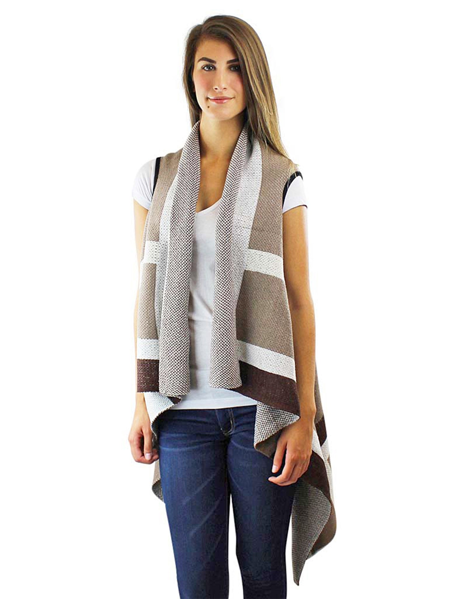 Sleeveless Long Draped Sweater Vest