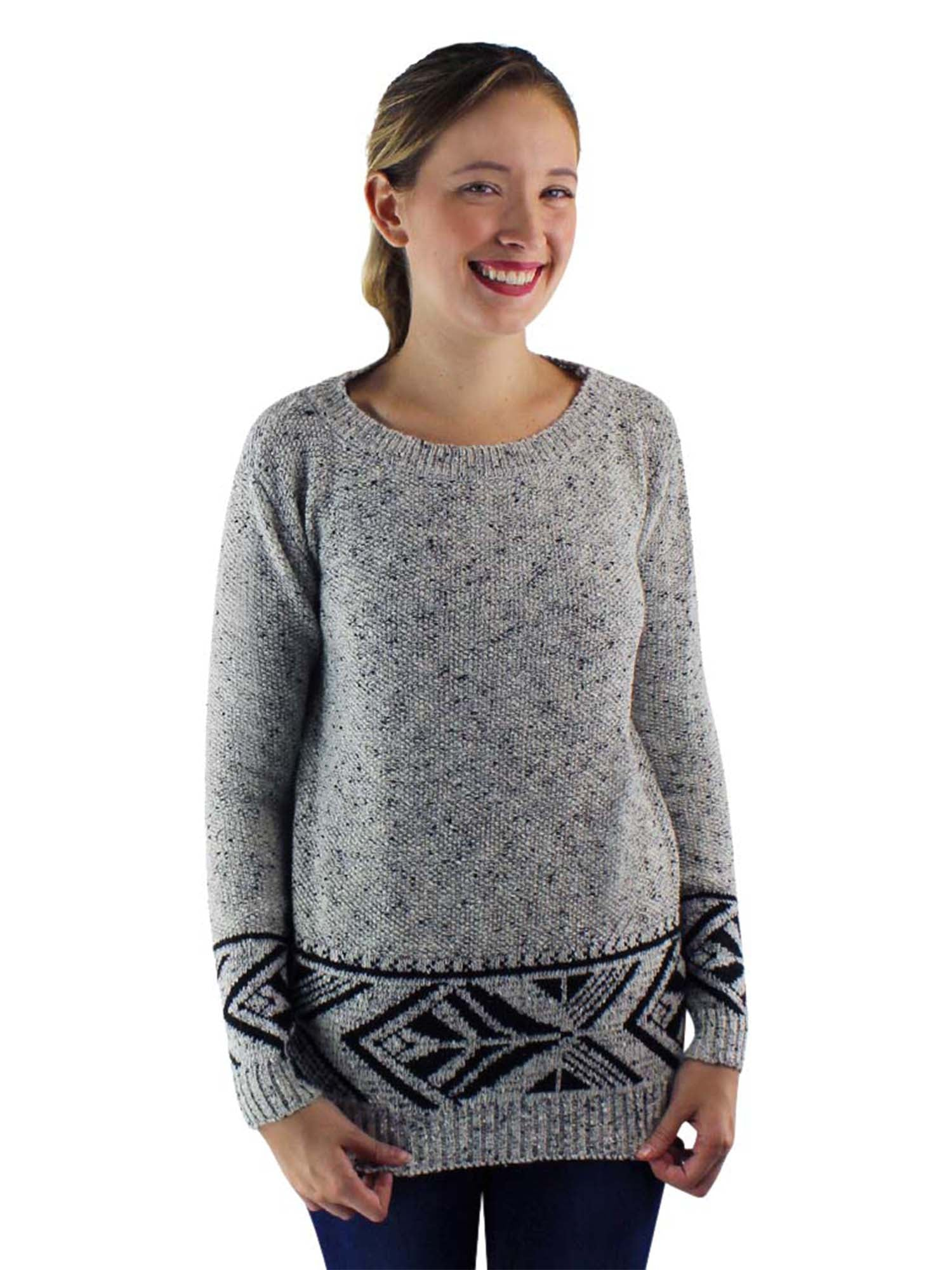 Marled Patterned Long Sweater