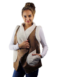 Vegan Leather Shearling Lined Vest