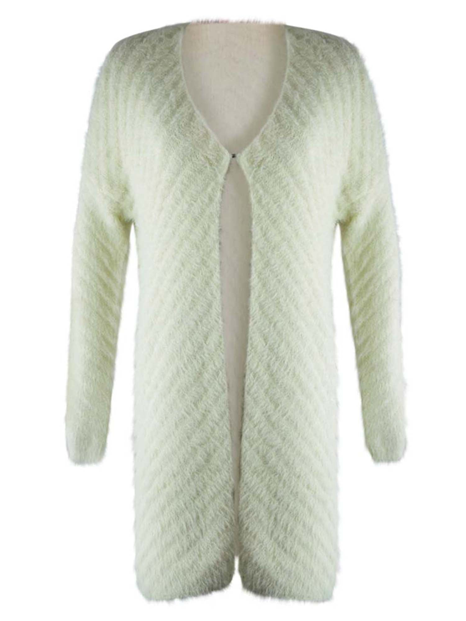 Fuzzy Knit Long Sleeve Cardigan Sweater Coat