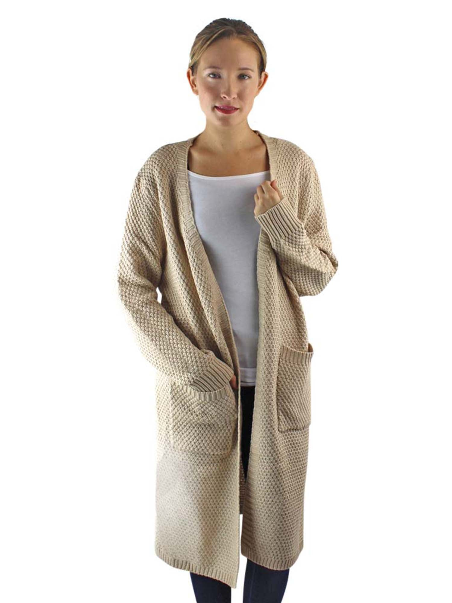 Draped Knit Cardigan Sweater With Pockets