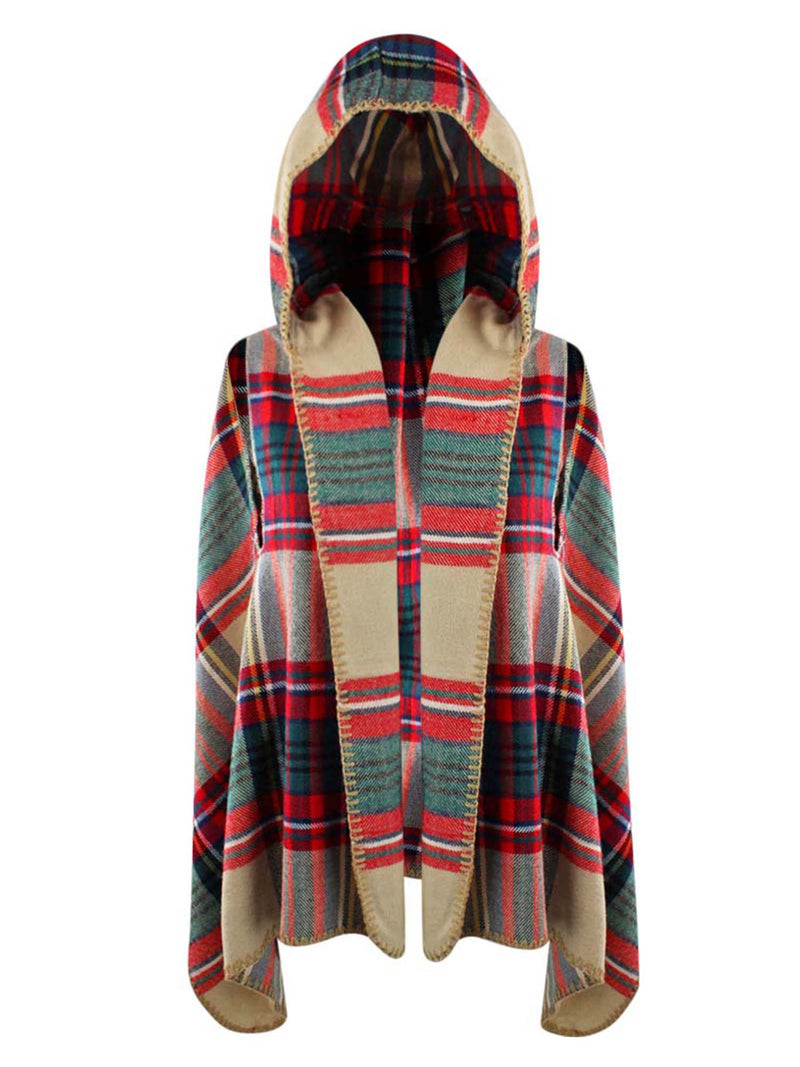 Sleeveless Plaid Vest With Hood