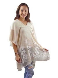 Beige Crochet Trim Beach Cover-Up Top