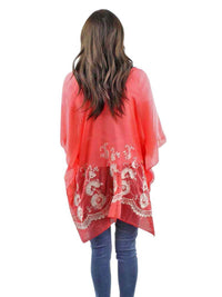 Coral Crochet Trim Beach Cover-Up Top