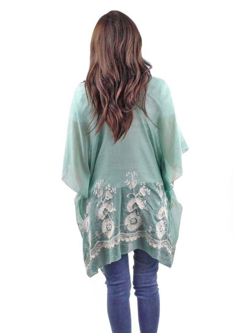 Sage Green Crochet Trim Beach Cover-Up Top