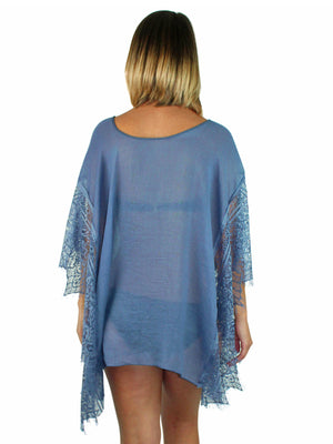 Navy Blue Sheer Swim Beach Cover-Up Top