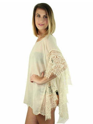 Beige Sheer Swim Beach Cover-Up Top