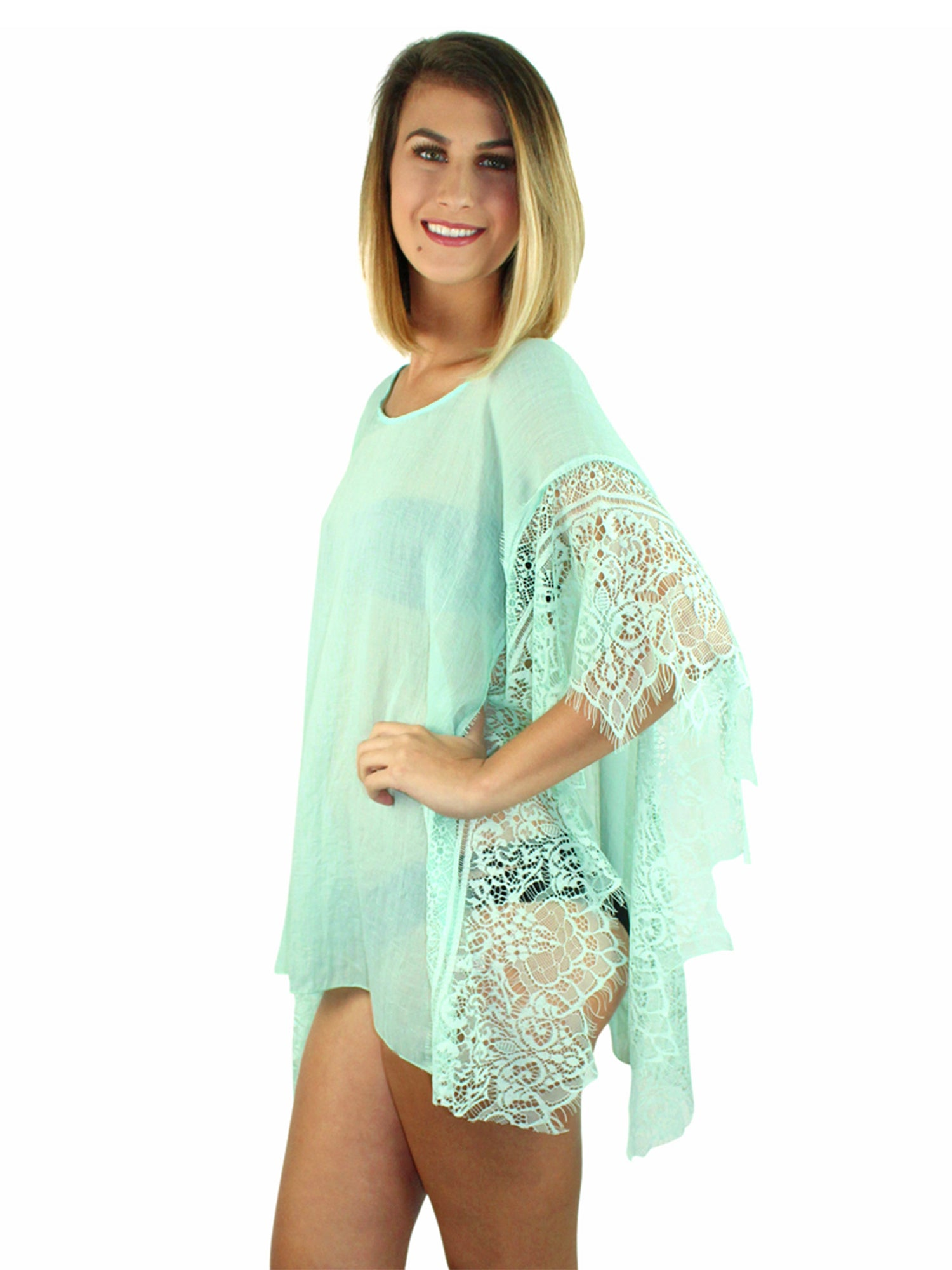 Mint Green Sheer Swim Beach Cover-Up Top