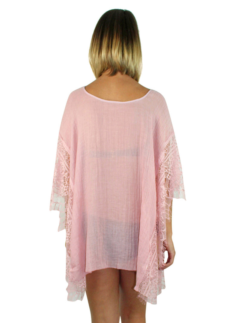 Pink Sheer Swim Beach Cover-Up Top