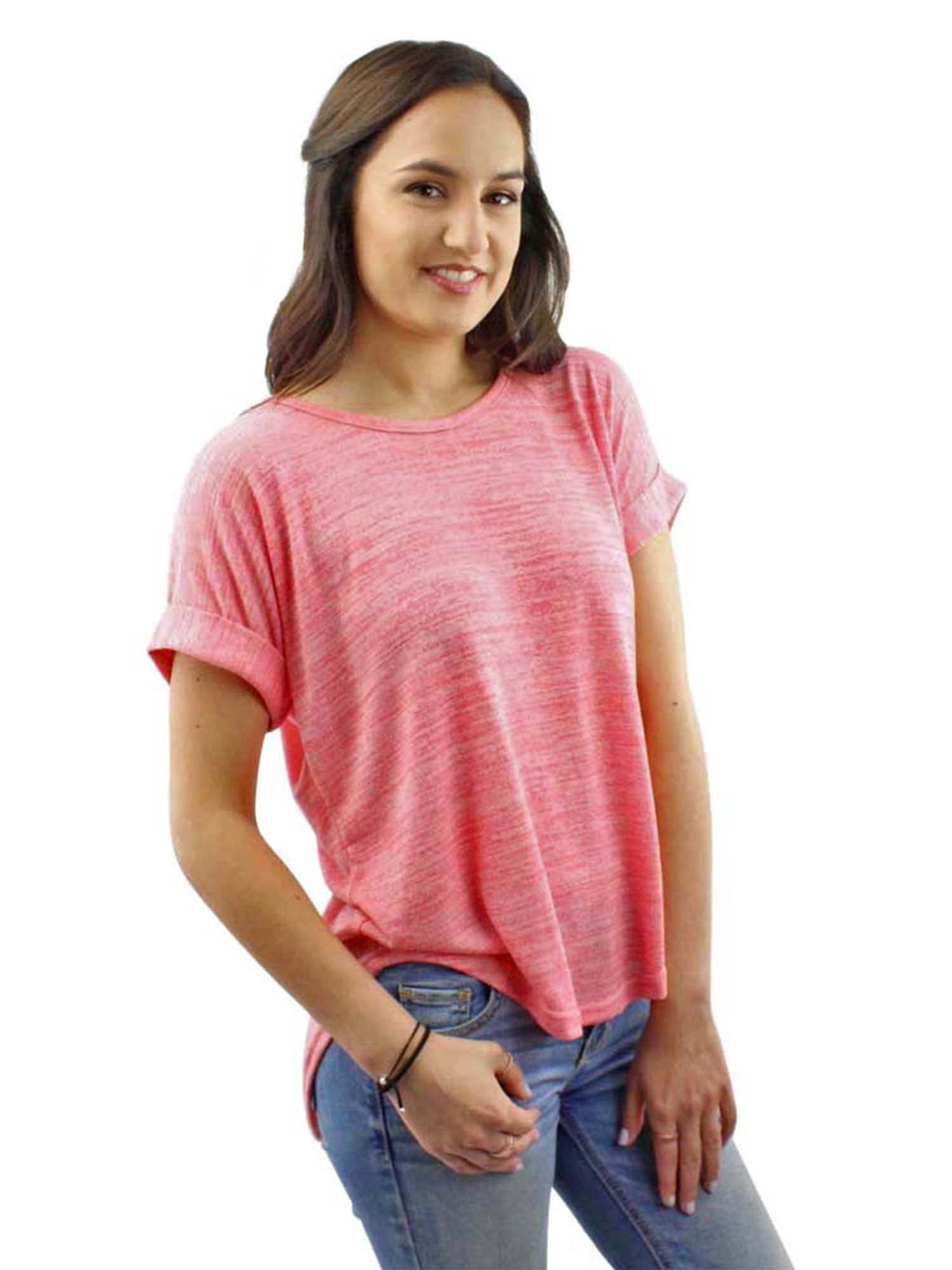 Coral Pink Heathered Knit Tie-Back Tee Top