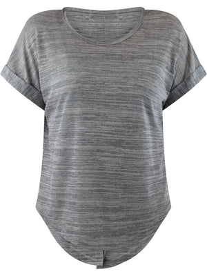 Gray Heathered Knit Tie-Back Tee Top