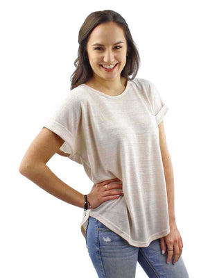 Ivory Heathered Knit Tie-Back Tee Top