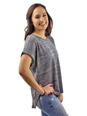 Black Heathered Knit Tie-Back Tee Top