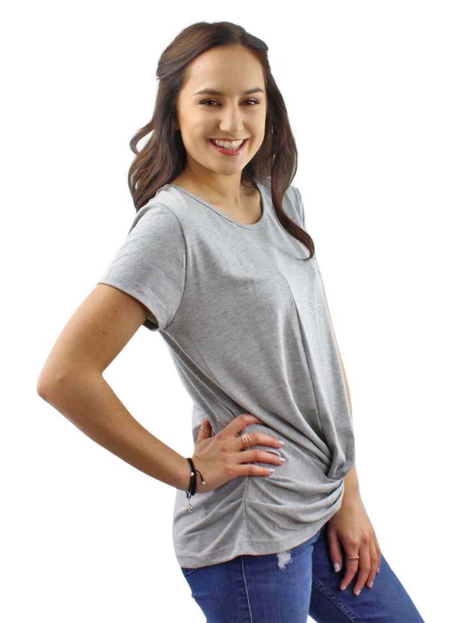 Gray Lightweight Knotted Front Tee