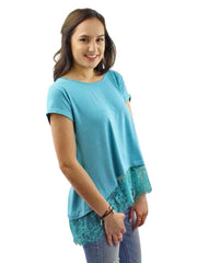 Turquoise Blue Top With Lace Trim