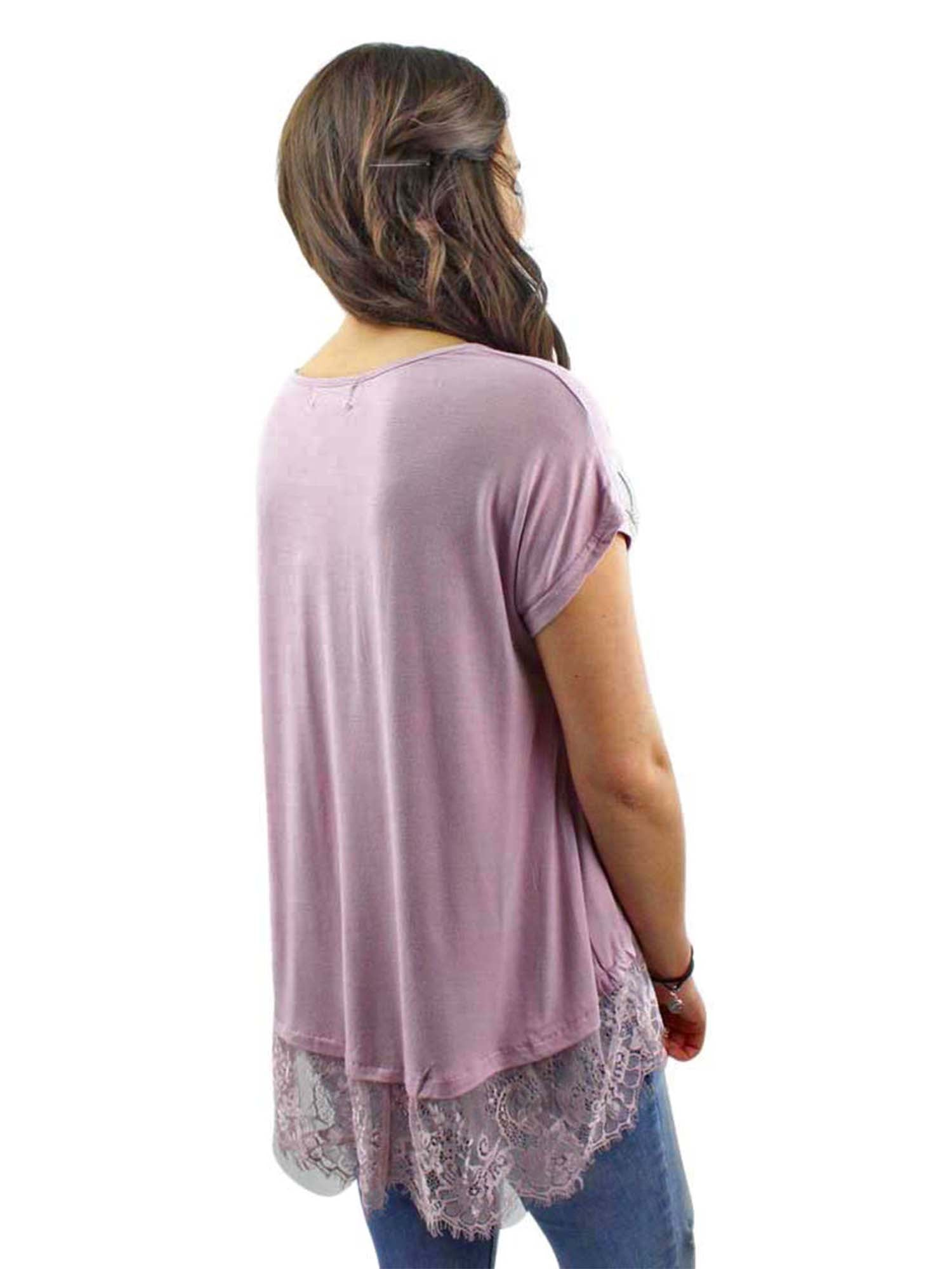 Mauve Top With Lace Trim