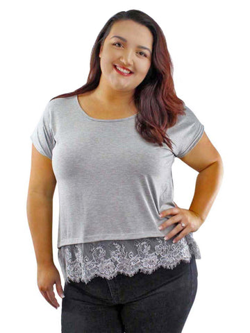 Loose Fit Plus Size Top With Lace Trim