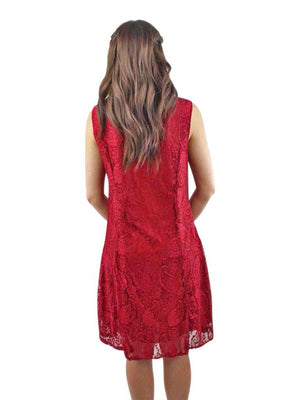 Red Paisley Lace Sleeveless Midi Dress