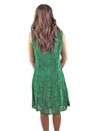 Green Paisley Lace Sleeveless Midi Dress