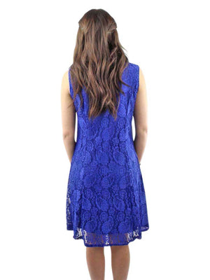 Royal Blue Paisley Lace Sleeveless Midi Dress