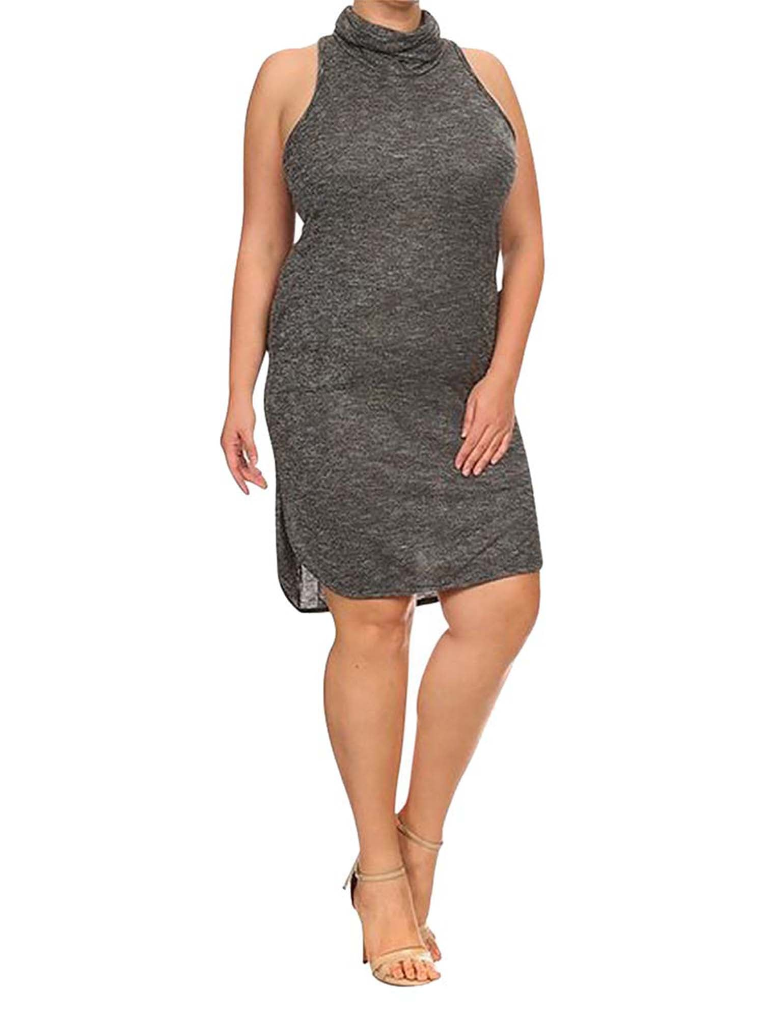 Plus Size Grey Racerback Turtleneck Dress
