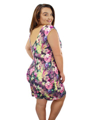 Colorful Floral Sleeveless Plus Size Midi Dress