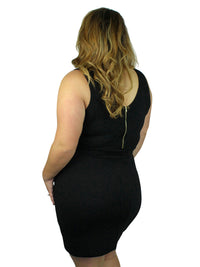 Black Asymmetric Plus Size Mini Dress