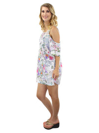 White Paisley Cold Shoulder Sundress Cover Up