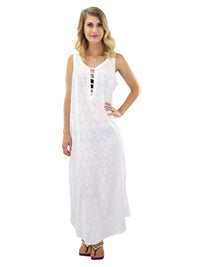 White Chevron Cover Up Dress